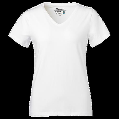 Fairtrade,  hvid t-shirt i økologisk bomuld Vhals