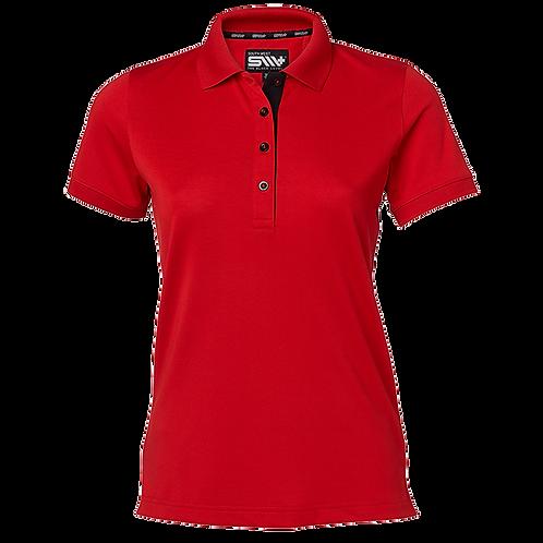 Cooldry dame polo t-shirt i rød med kontrast