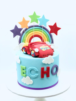 Rainbow Wiggles Big Red Car cake