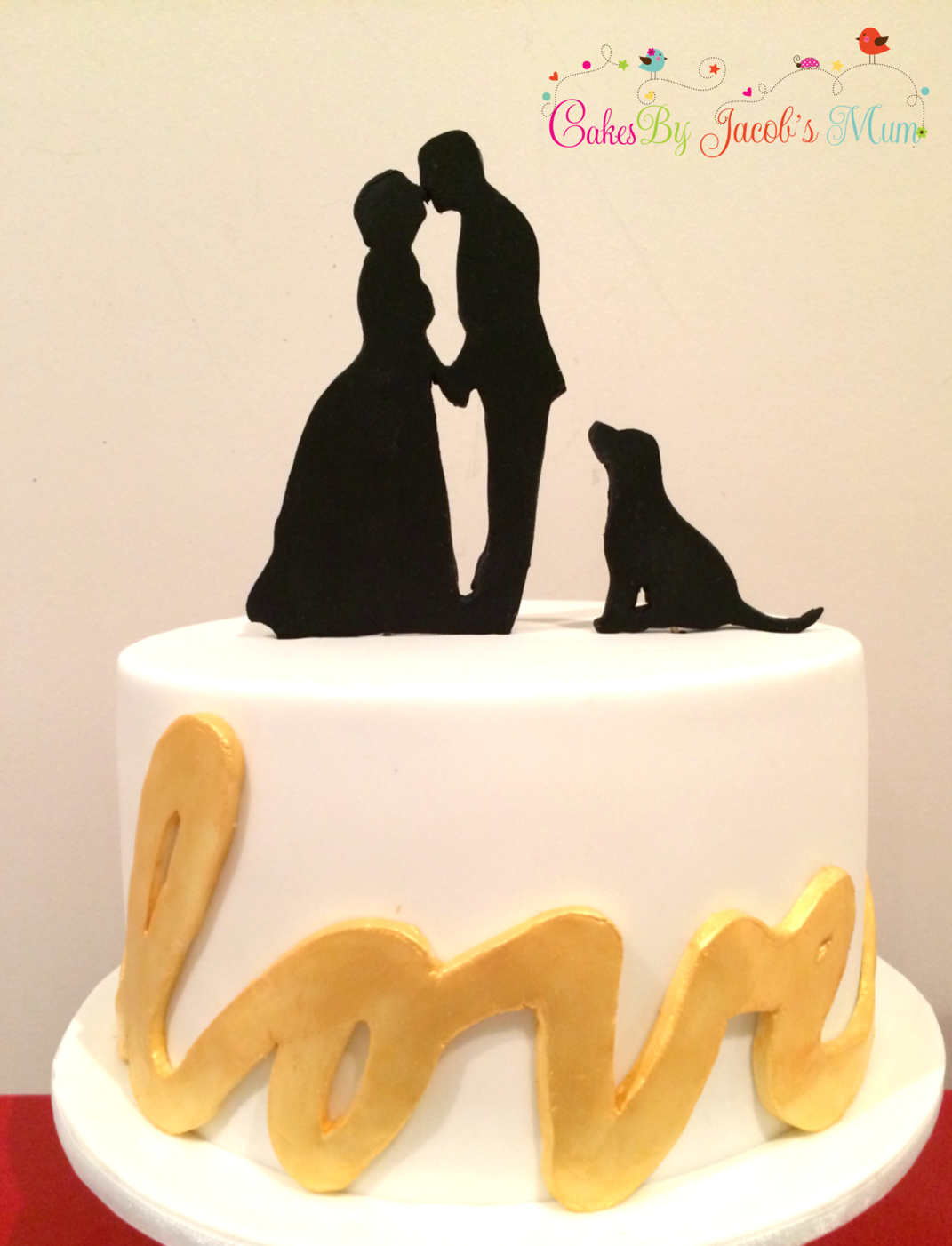 Wedding Cake silhouette & dog