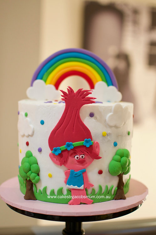 Trolls Princess Poppy Rainbow Birthday Cake