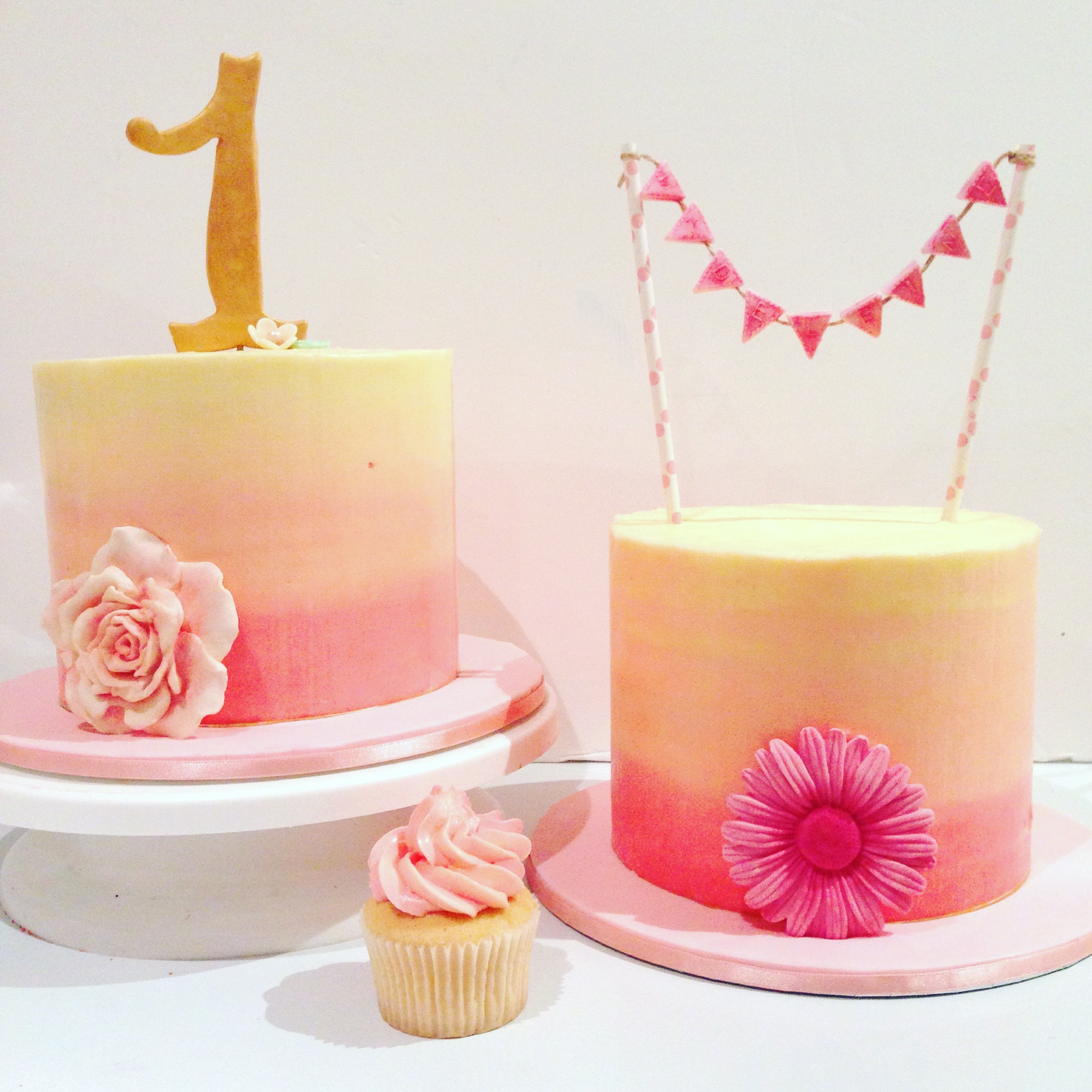 Pink Buttercream Christening Cake
