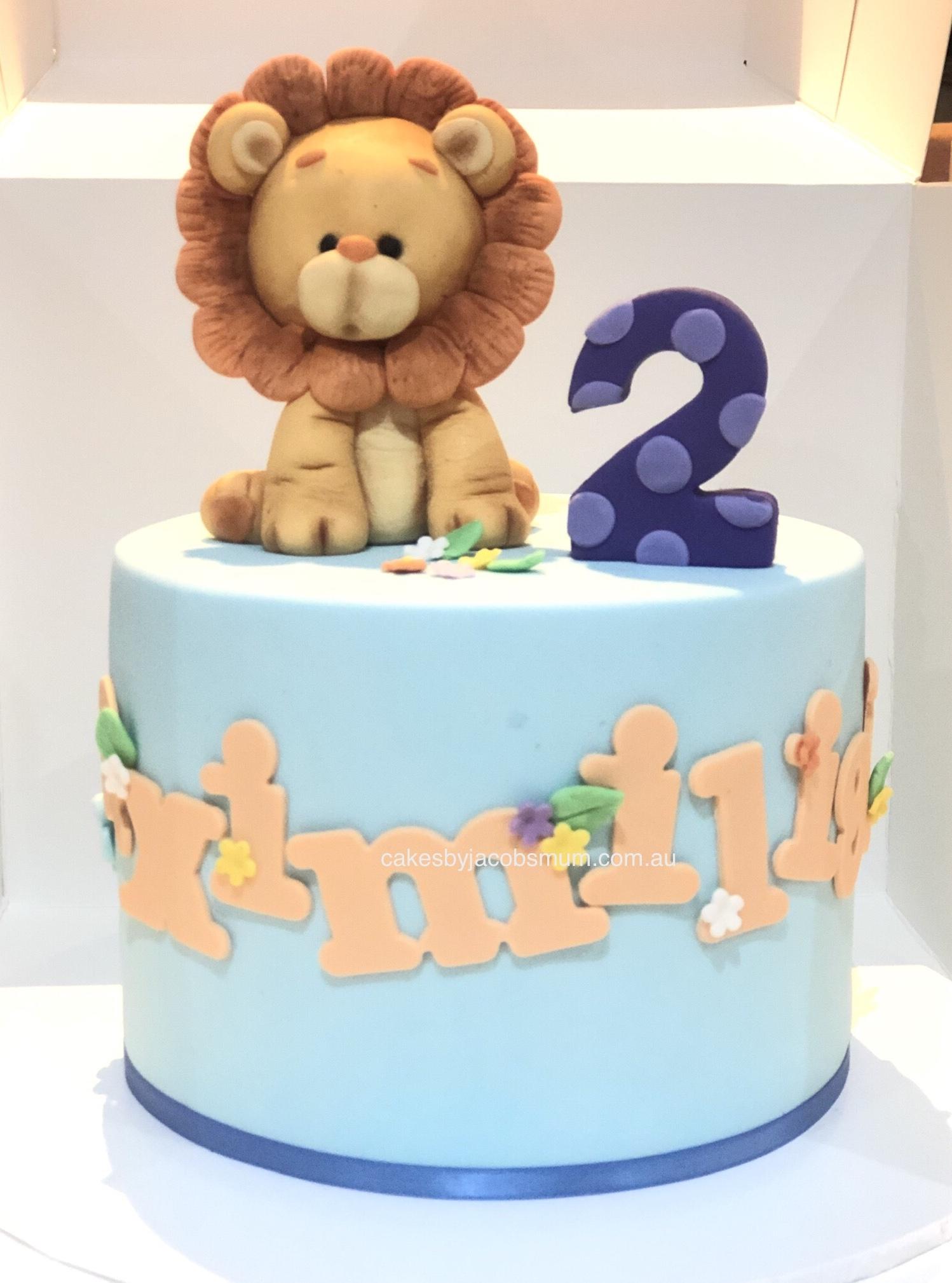 lion cute jungle zoo safari birthday cak