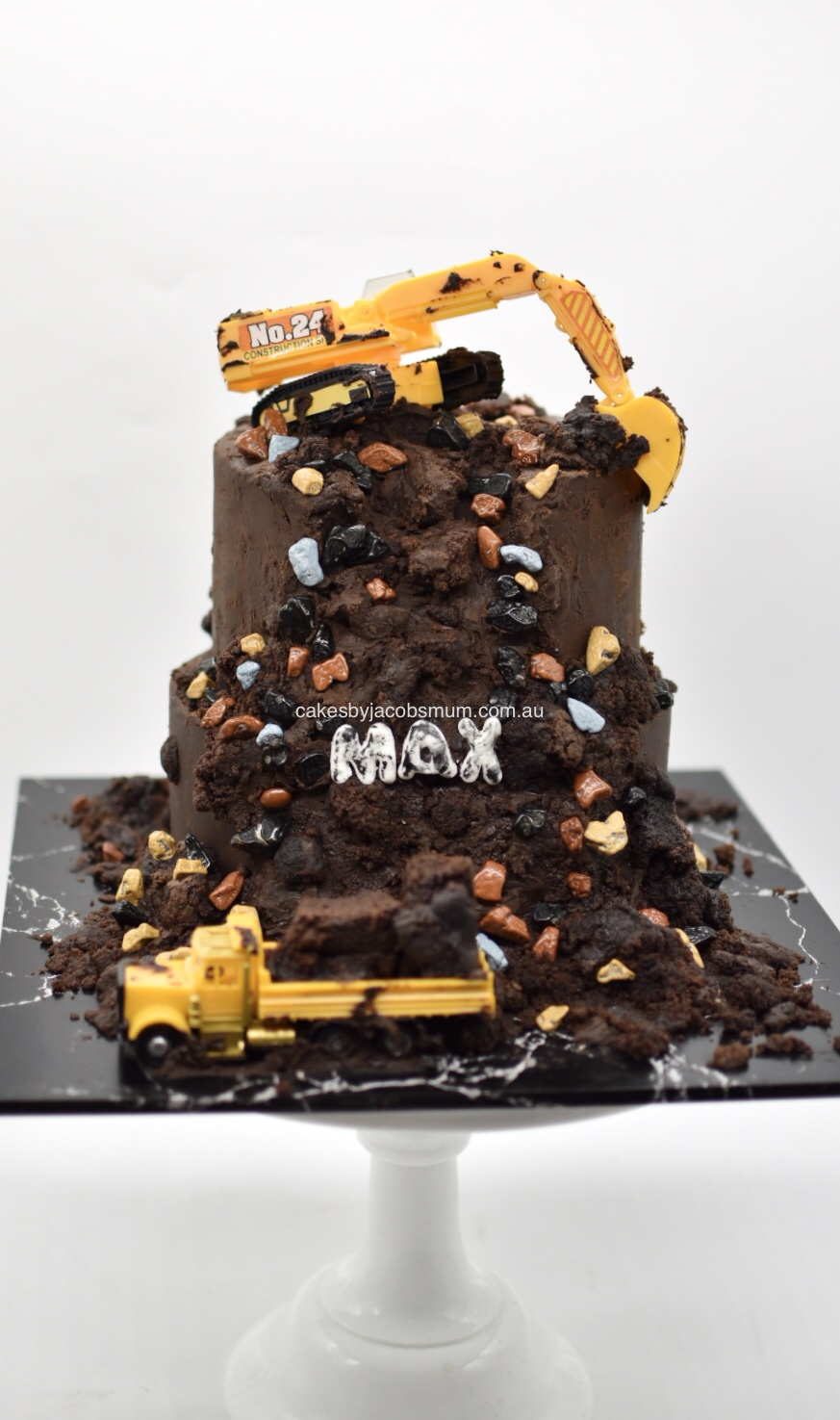 Digger construction birthday cake