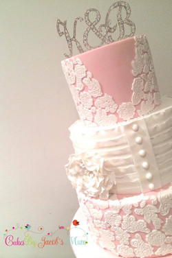 Pink Lace 3 Tier Red Velvet Cake