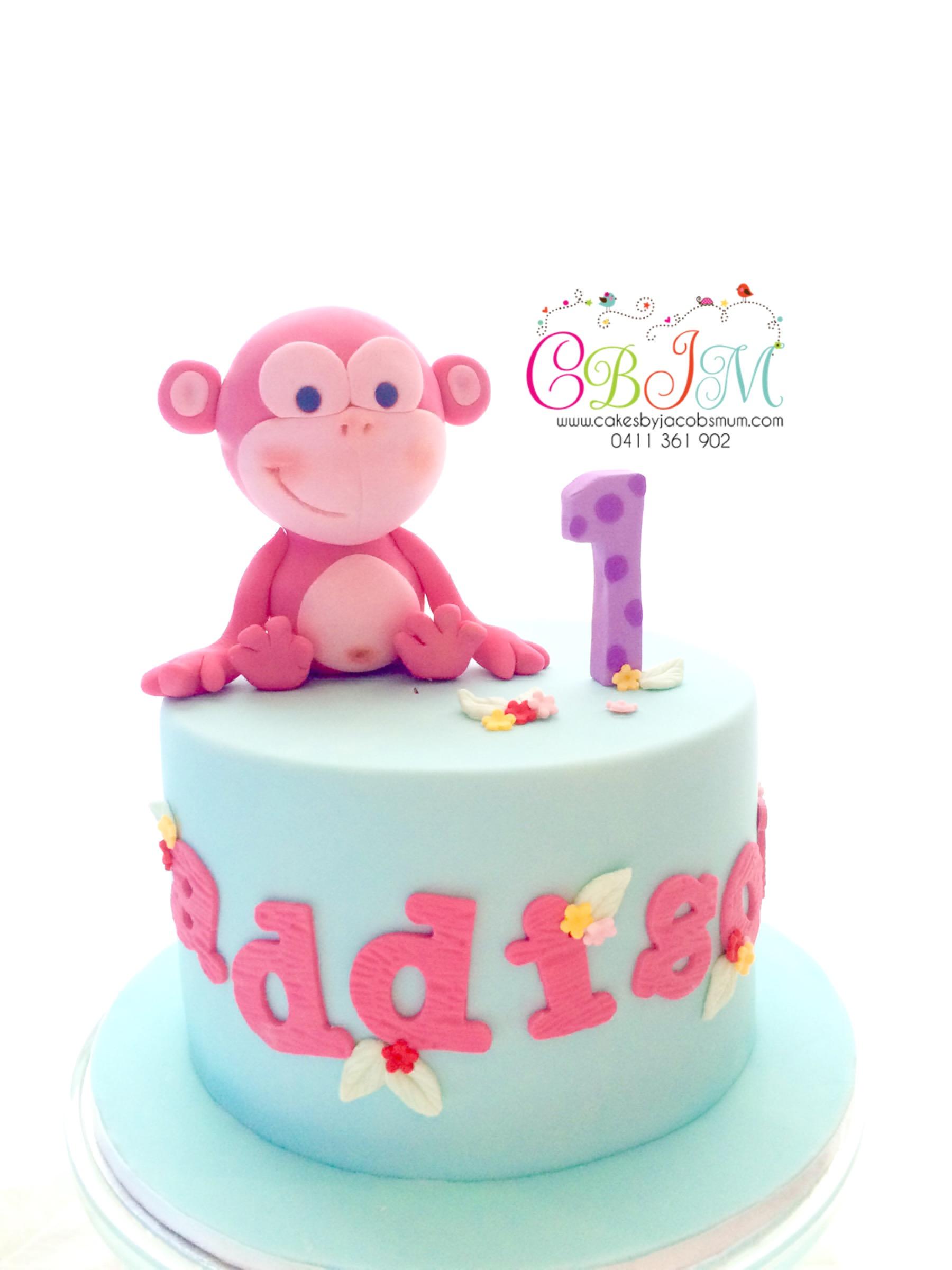 Cute Pastel Colours Monkey Cake