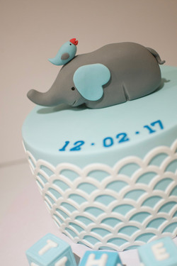 Baptismal Christening cake with elephant topper