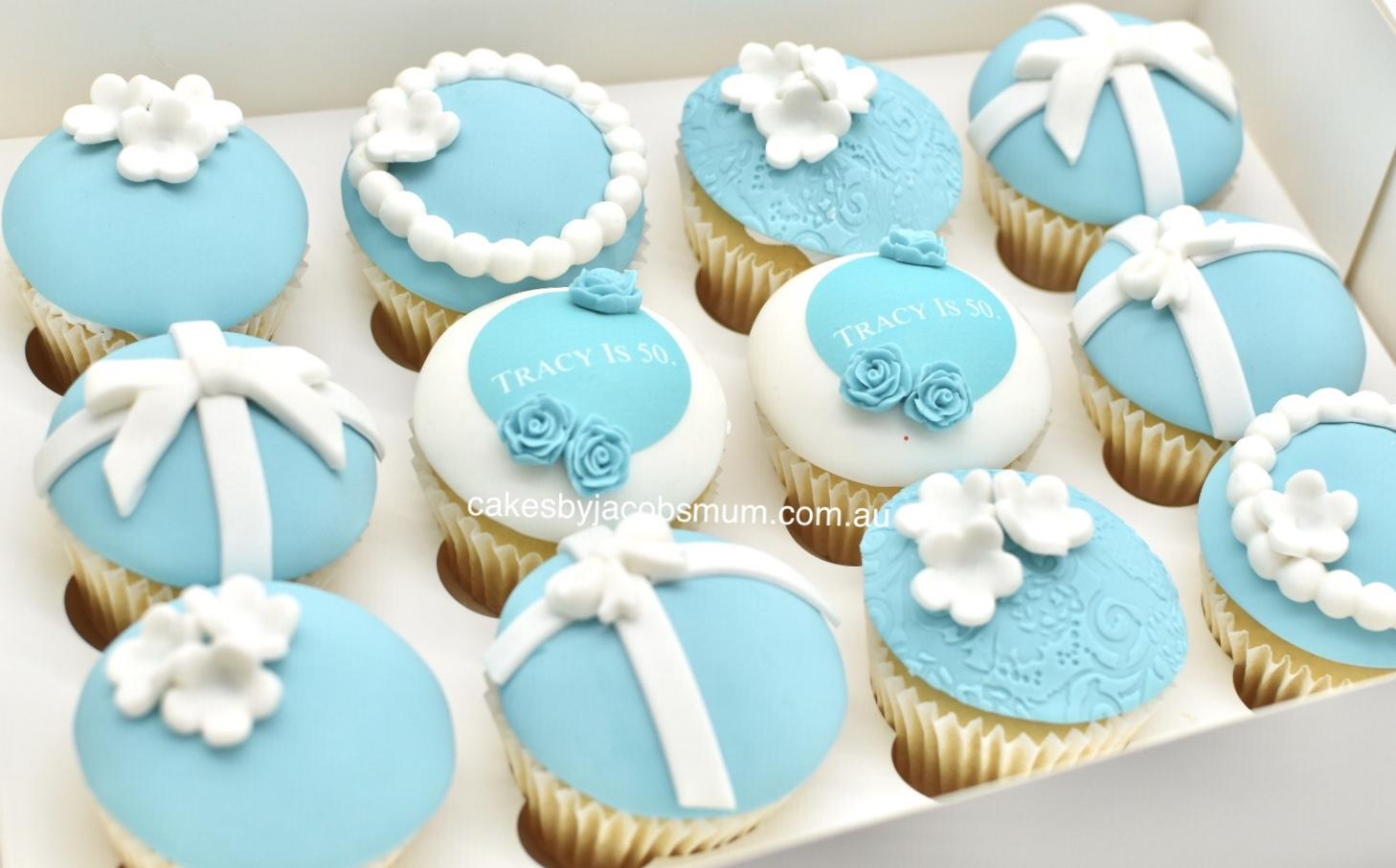 Tiffany & Co fondant 40th birthday cupca