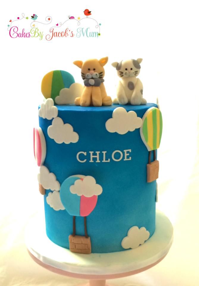 Hot Air Balloon cake & Cat toppers