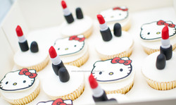 Hello Kitty and lipstick cupcakes