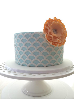 Blue Scalloped Cake sugar flower