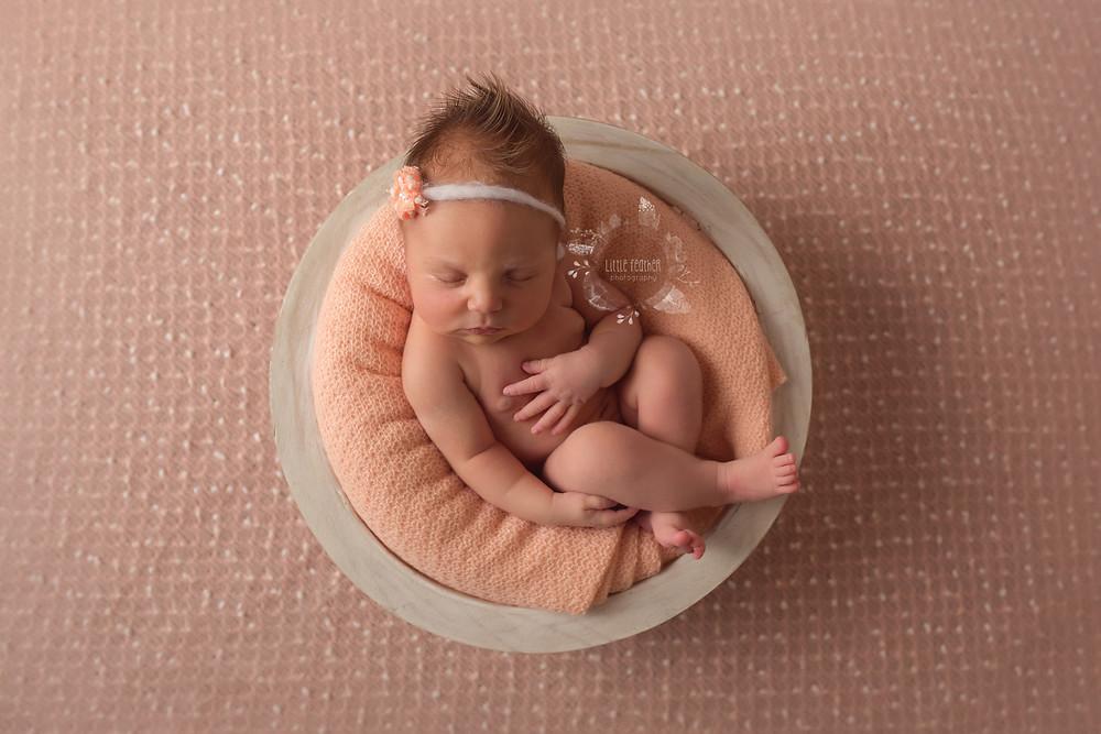 peach colour newborn setup baby girl