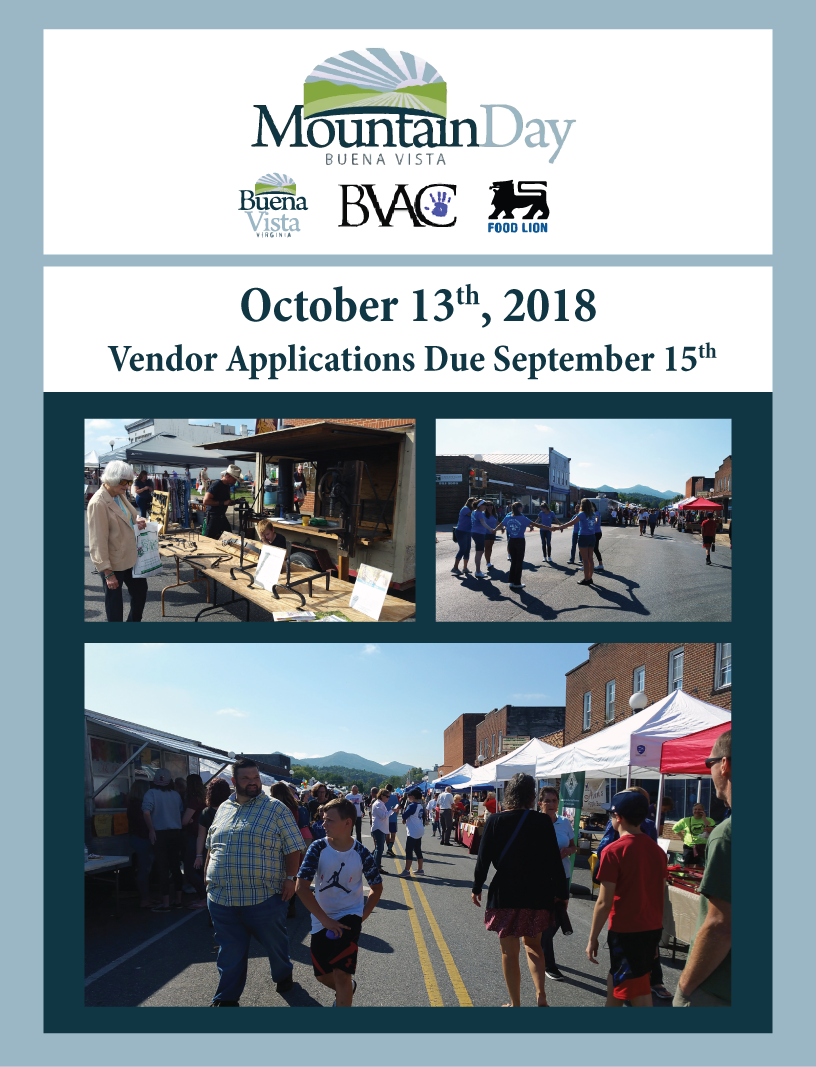 Flyer for Mountain Day. October 13th. Vendor applications due September 15th.