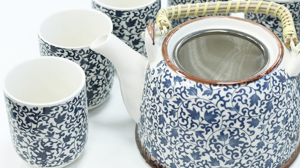 Herbal Teapot Set - Blue Pattern