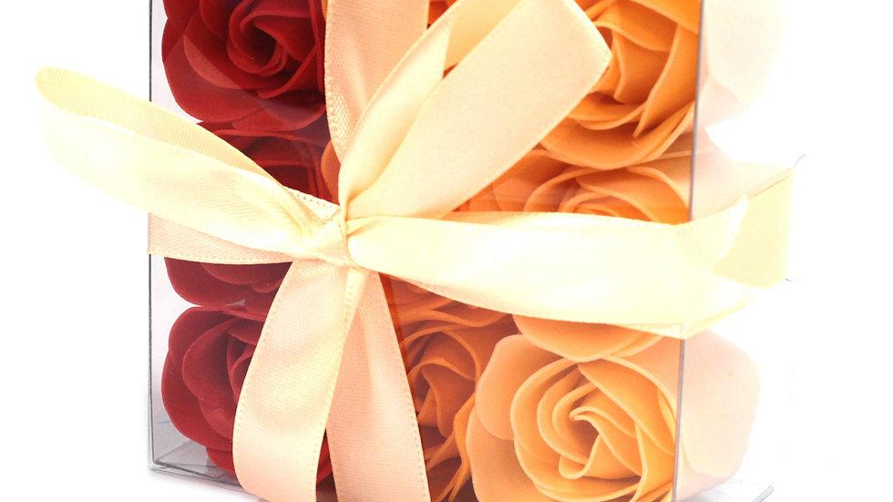 Set of 9 Soap Flower Box - Peach Roses
