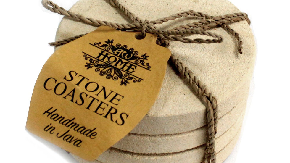 Set of 4 Stone Coasters - Round - Simple Sandstone