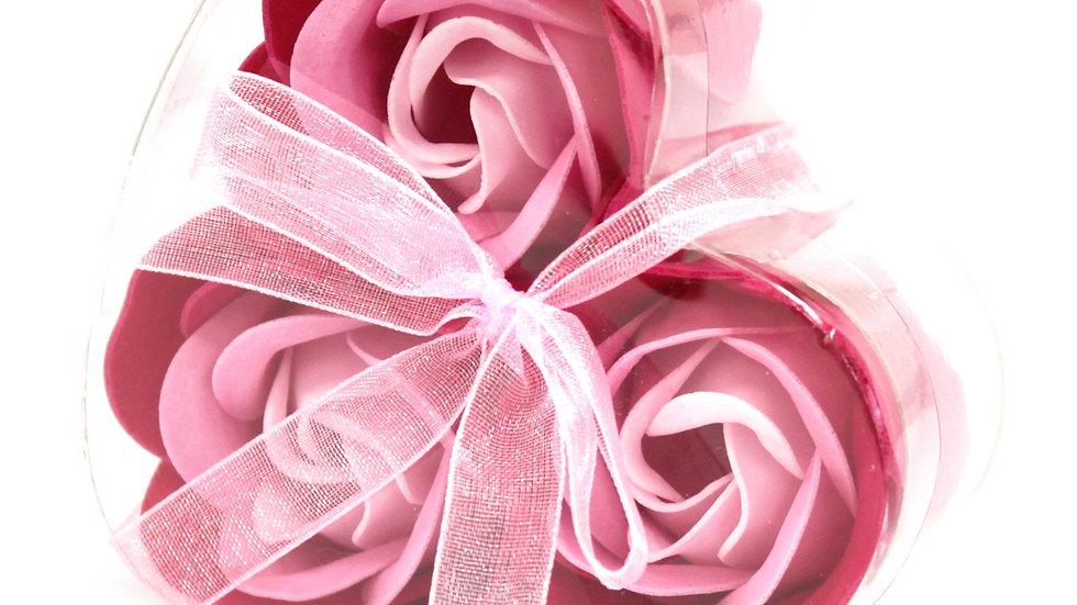 Set of 3 Soap Flower Heart Box - Pink Roses