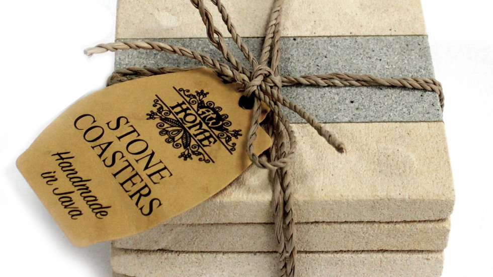 Set of 4 Stone Coasters - Square - Stripe