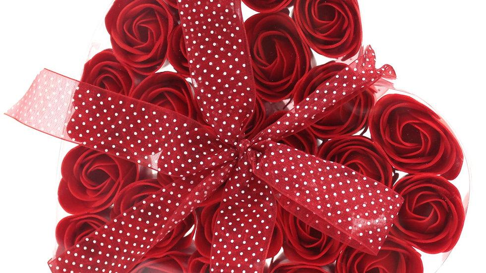 Set of 24 Soap Flower Heart Box - Red Roses