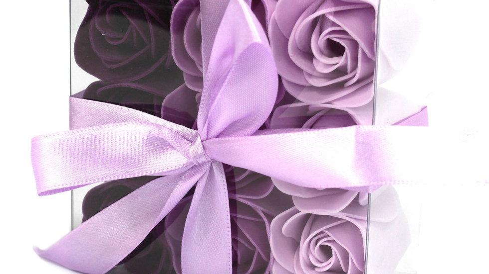 Set of 9 Soap Flower - Lavender Roses
