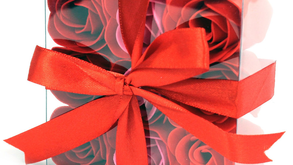 Set of 9 Soap Flowers - Red Roses