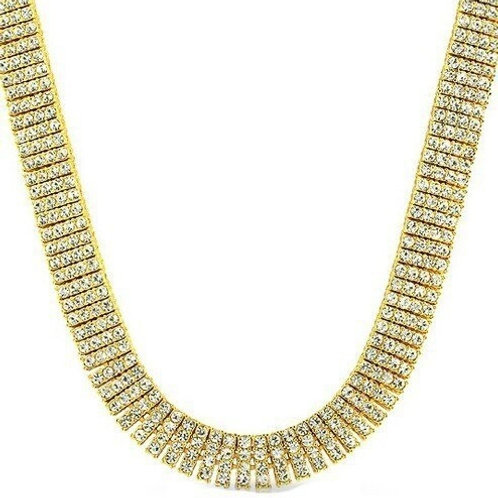 Mens 4 Row Tennis Necklaces Iced Out Rhinestone Gold Silvercolor