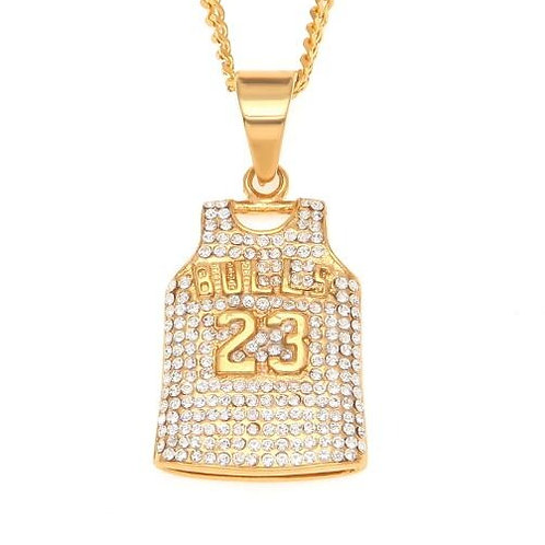 Mens Bulls 23 Jersey Pendant Necklace Stainless Steel Gold Color Round Cut