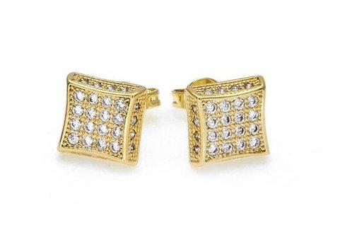 8.5*8.5mm Square 4 Row Cute Women's Square Stud Earrings
