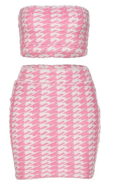 Pink 2 Piece Set Women Skinny Club Outfits 2020 Summer Strapless Crop Top