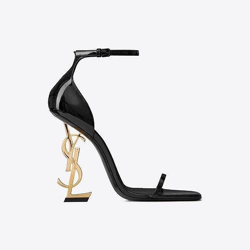 OPYUM SANDALS IN PATENT LEATHER WITH A GOLD-TONED HEEL