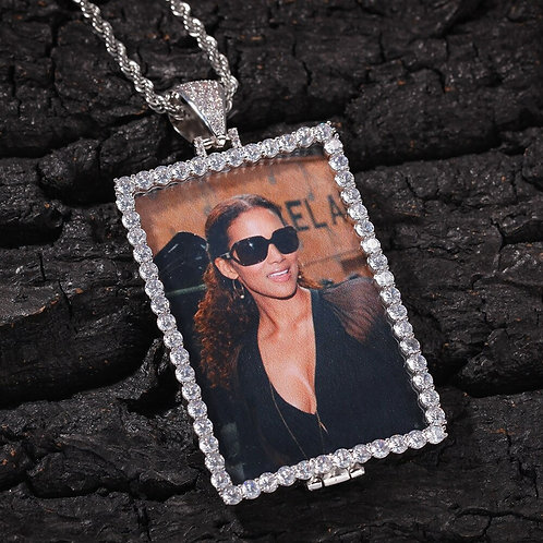Clamshell Rectangular Photo Pendant Necklace Hip Hop Full Iced