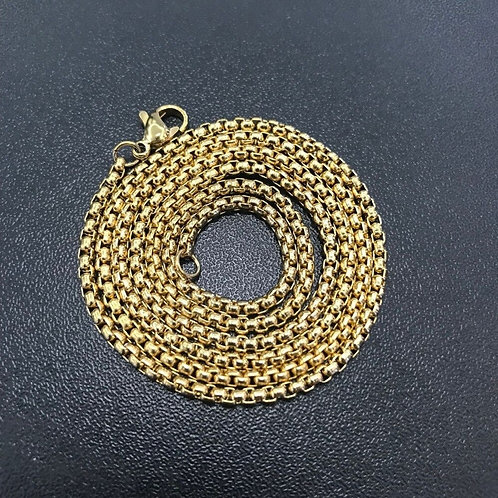 Square Rolo Stainless Steel Chain Necklace Round Box Chains Necklaces
