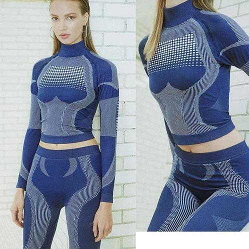 Women Fashion Fitness Sporting Tracksuit Turtleneck Full Sleeve Top