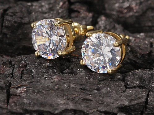 Fashion Prongs 8mm Plated Iced Out Micro Pave Big CZ Stone Stud Earring Hip Hop