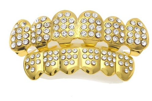 Gold Color Iced Out CZ TeethGRILLZ Top Bottom Tooth Caps Hip Hop Bling