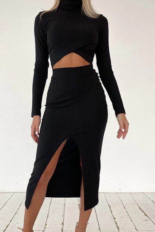 Bevel Cut Crop Top Side Slit Long Skirt Two Piece Set Women Ribbed Knitted