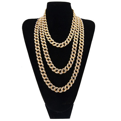Gold silver color 15mm Choker Cuban Chain Mens 18inch 20inch 24inch 30inch