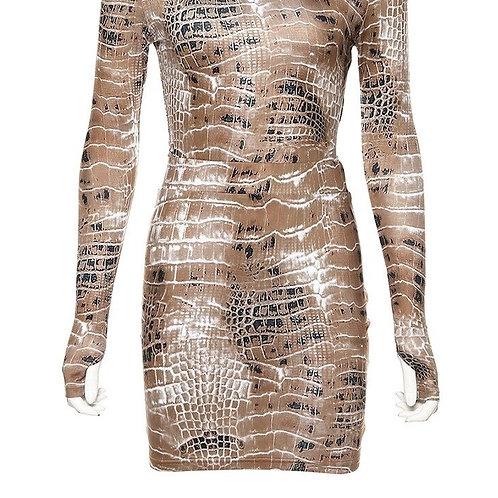 2019 Crocodile Print Slash Neck Sexy Bodysuit Skirt 2 Pieces Set
