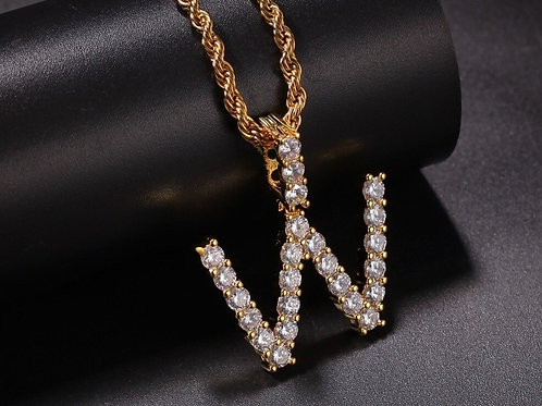 CZ Custom Tennis Initial Letter Pendant Necklace Iced Out Cubic Zirconia