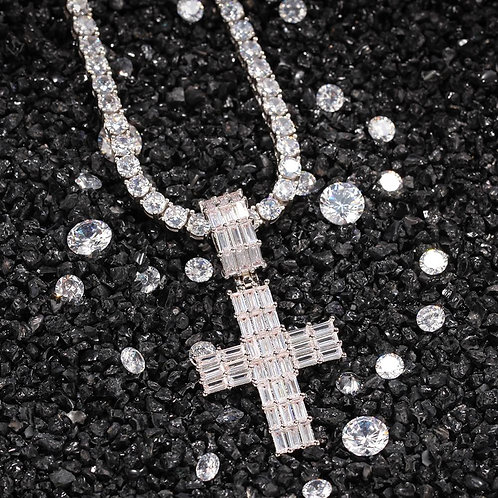 Three Rows of Square zirconium cross Necklace Hip Hop Full Iced Out Cubic