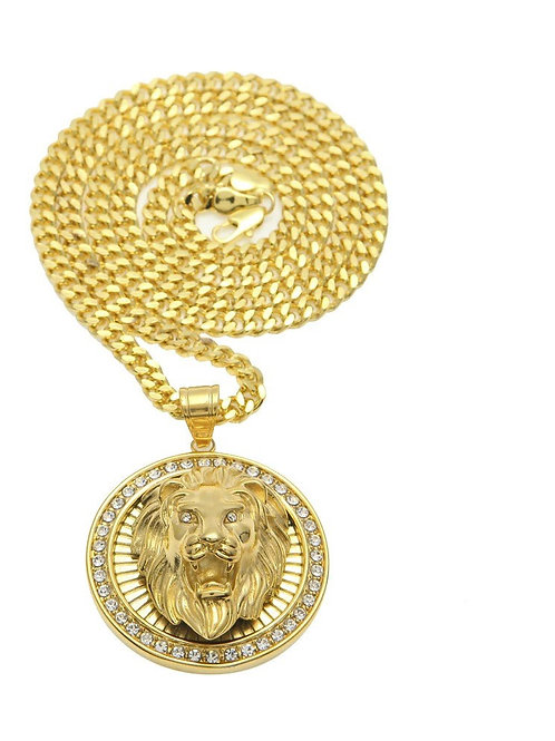 Mens HipHop Jewelry Iced Out Gold Color Fashion Bling Bling Lion Head Pendant
