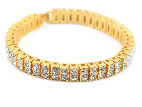 """2 Row Crystal Iced Out Men Lady Bling Tennis Lovely HipHop Bracelet 8 """" punk bra"""