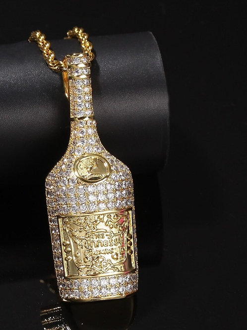 Custom Beer Bottles Necklace HipHop Full Iced Out Cubic Zirconia
