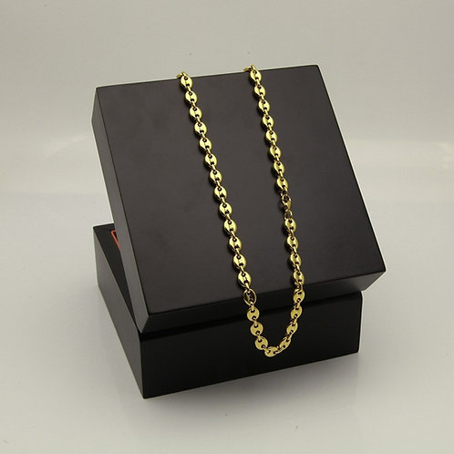 Stainless Steel Puffed Mariner Link Chain Choker Necklace Gold Silver Color