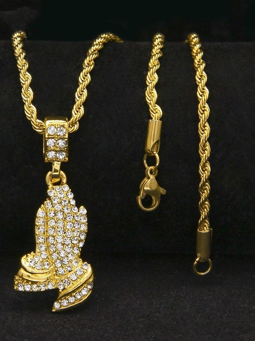 Fully Iced Out Rhinestone Praying Hands Pendant Necklace Mens Jewelry