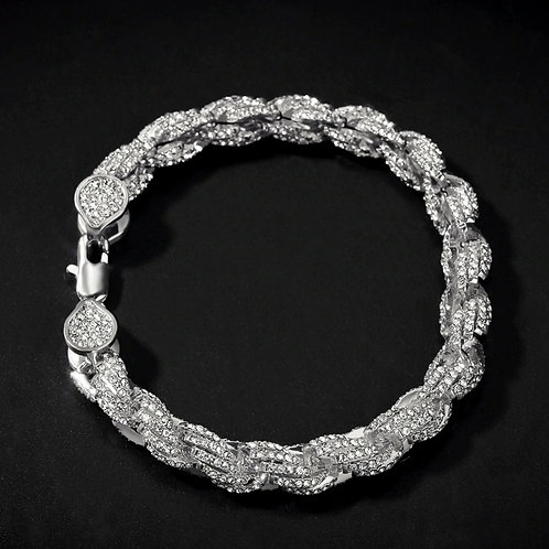 Gold Tone Mens Bling Iced Rope Bracelet Covered with High Quality