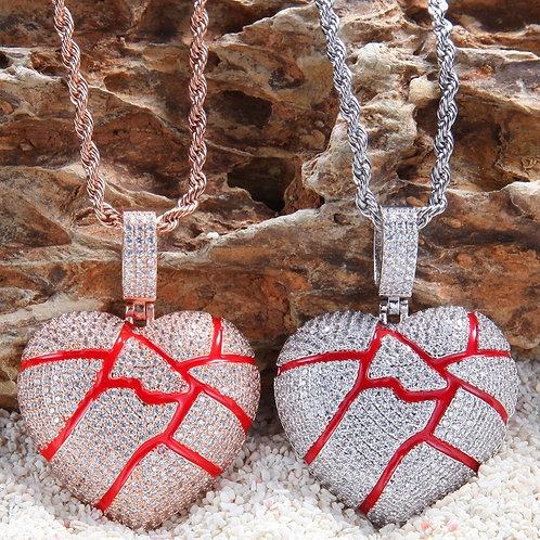 Custom Lava Broken Heart Necklace Hip Hop Full Iced Out Cubic Zirconia
