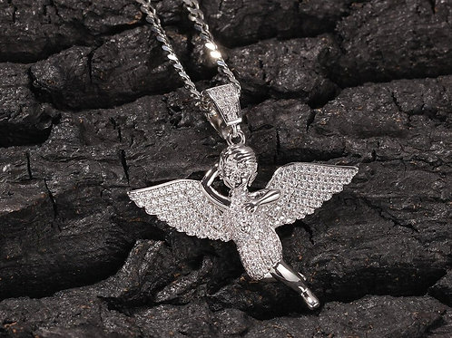 Custom The Angel Necklace Hip Hop Full Iced Out Cubic Zirconia