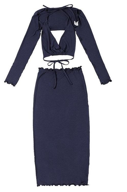 Lace Up Halter Bra T-shirt Long Skirt Matching Set 3 Piece Women