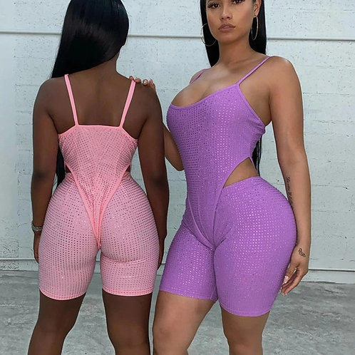 Tracksuit Fitness Women Two Piece Set Sequins Skinny Camisole Bodysuits+Biker
